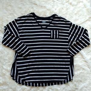 Lane Bryant Striped T-shirt Black White 18 20